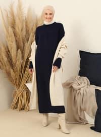 Navy Blue - Crew neck - Unlined - Knit Tunics