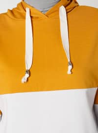 Color Block Hooded Sweat Tunic - Saffron