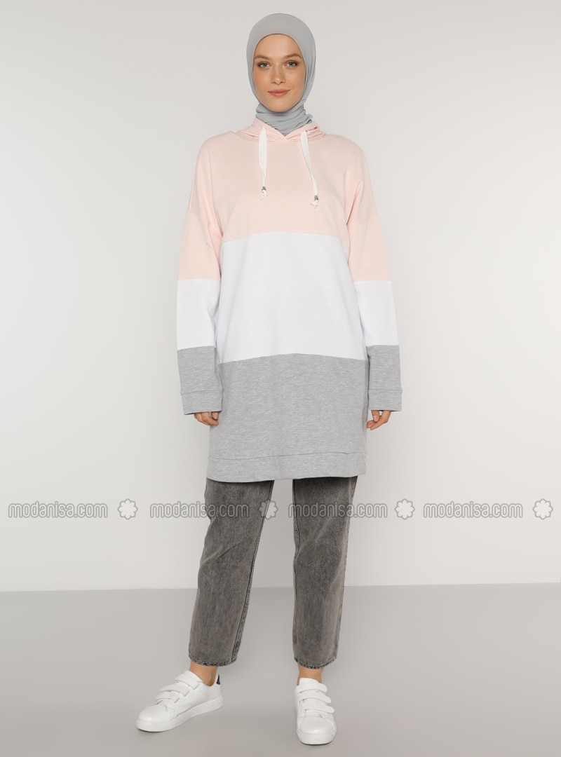 Color Block Hooded Sweat Tunic - Pink