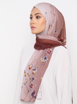 Tan - Floral - Printed - Shawl