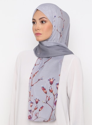 Gray - Floral - Printed - Shawl