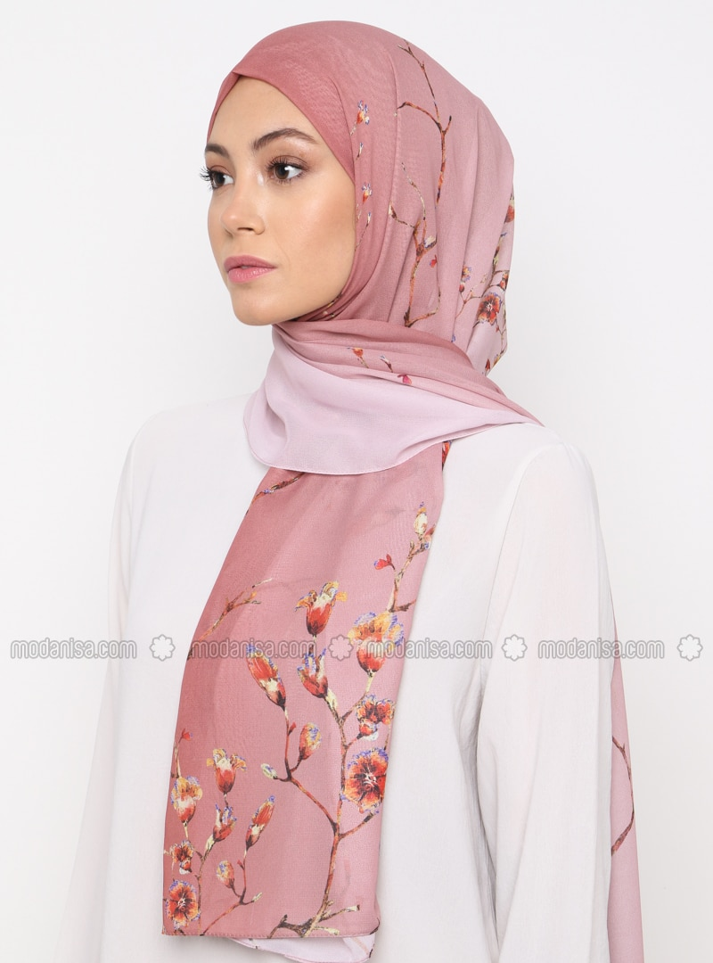Powder - Floral - Printed - Shawl