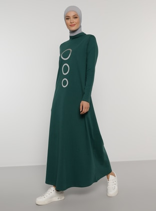 Green - Printed - Polo neck - Unlined - Cotton - Dress