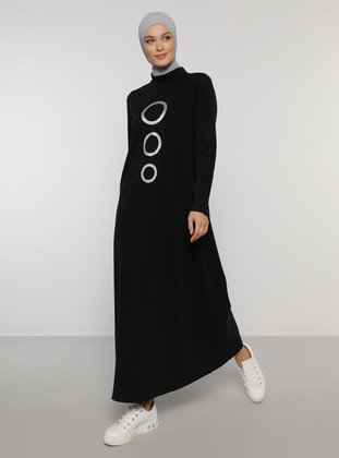 Black - Printed - Polo neck - Unlined - Dress