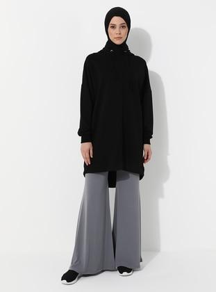 Gray - Cotton - Plus Size Pants