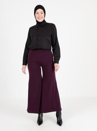 Plum - Cotton - Plus Size Pants