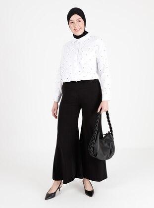 Black - Cotton - Plus Size Pants