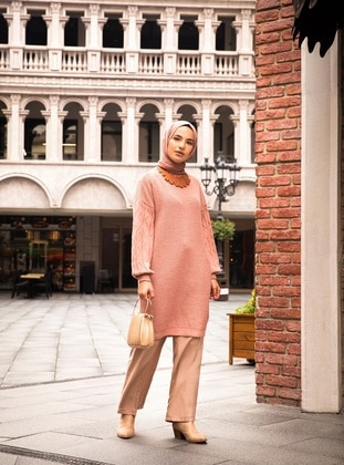 Pink - Polo neck - Unlined - Knit Tunics