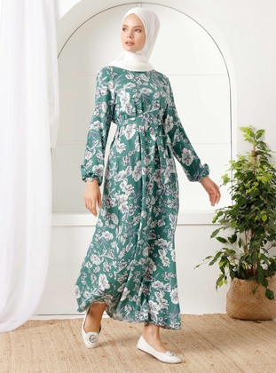 Emerald - Floral - Crew neck - Unlined -  - Dress