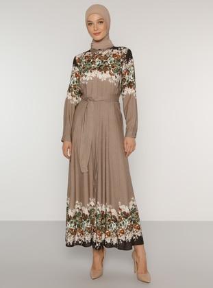 Mink - Floral - Point Collar - Unlined - Viscose - Dress