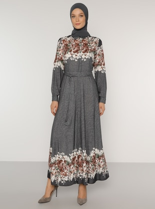 Navy Blue - Floral - Point Collar - Unlined - Viscose - Dress