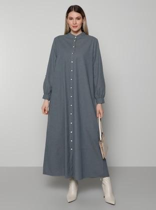 Gray - Unlined - Button Collar - Cotton - Plus Size Dress