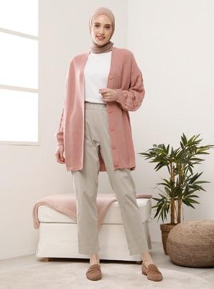 Pink - V neck Collar - Acrylic - - Cardigan