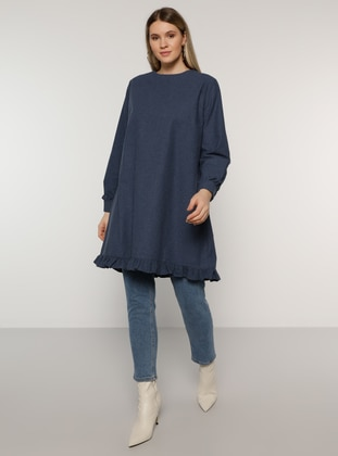 Navy Blue - Crew neck -  - Plus Size Tunic - Alia