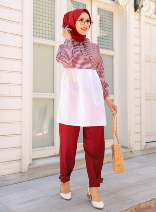 Maroon - Checkered - Crew neck -  - Tunic