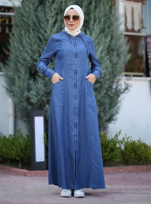 Blue - Unlined - Denim -  Lyocell - Abaya