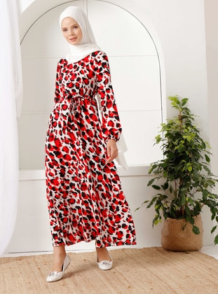 Red - Leopard - Crew neck - Unlined -  - Dress