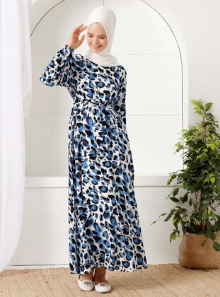 Blue - Leopard - Crew neck - Unlined -  - Dress