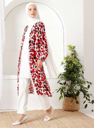 Red - Leopard - Unlined - Shawl Collar - - Topcoat - İnşirah