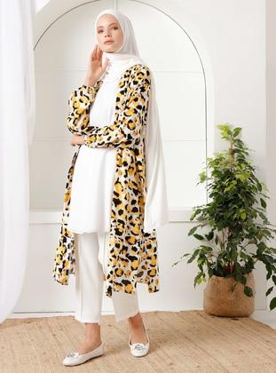 Yellow - Leopard - Unlined - Shawl Collar - - Topcoat