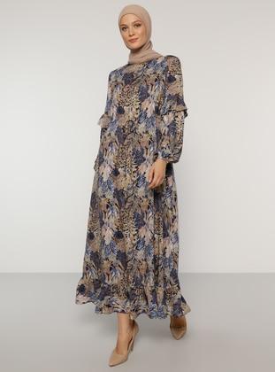 Brown - Saxe - Polka Dot - Crew neck - Unlined - Viscose - Dress