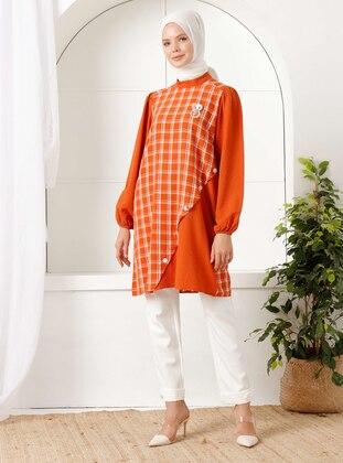 Tan - Checkered - Viscose - Suit
