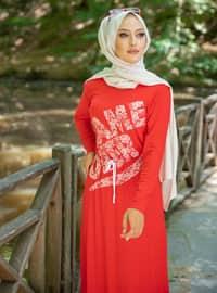Red - Stripe - Crew neck - Unlined - - Dress