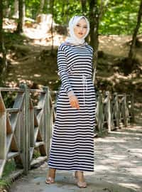 Mink - Stripe - Unlined - Viscose - Dress