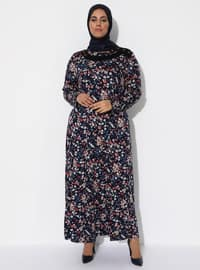 Bordo - Çiçekli - Yuvarlak yakalı - Astarsız - Viskon - Elbise