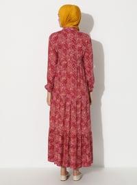 Dusty Rose - Multi - Crew neck - Unlined - Viscose - Dress