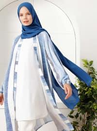 Indigo - Blue - Stripe - Unlined - Shawl Collar -  - Topcoat