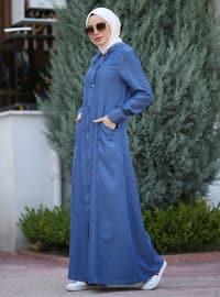 Blue - Unlined - Denim - Lyocell - Abaya