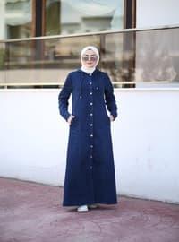 Navy Blue - Unlined - Denim - Lyocell - - Abaya