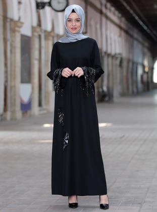 Black - Crew neck - Unlined - Crepe - Dress