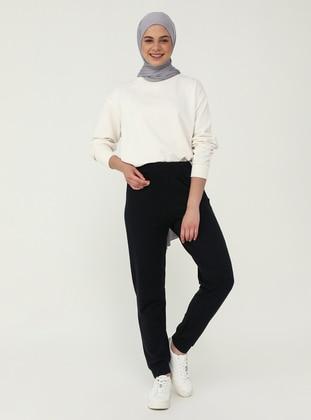 Elastic Waist Track Pants - Navy Blue