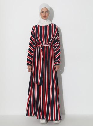 Red - Navy Blue - Stripe - Crew neck - Unlined -  - Dress