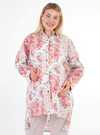 Pink -  - Floral - Point Collar - Maternity Blouses Shirts