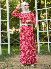 Red - Multi - Crew neck - Unlined - Dress
