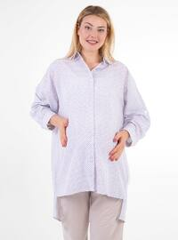 Blue -  - Multi - Point Collar - Maternity Blouses Shirts