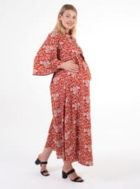Terra Cotta - Point Collar - Unlined -  - Maternity Dress