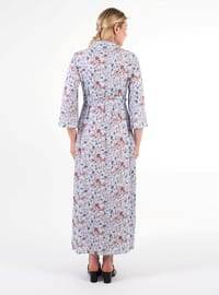 Blue - Point Collar - Unlined -  - Maternity Dress