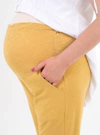 Mustard -  - Unlined - Maternity Pants