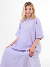 Lilac - Gingham - Crew neck - Unlined -  - Maternity Dress