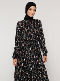 Siyah - Çiçekli - Fransız yakalı - Astarsız - Elbise