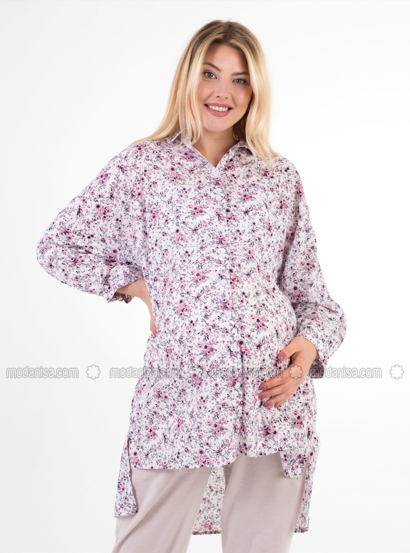 White -  - Floral - Point Collar - Maternity Blouses Shirts