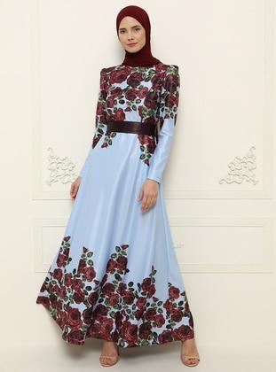 Blue - Multi - Unlined - Crew neck - Muslim Evening Dress