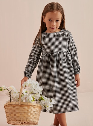 Gingham - Round Collar -  - Unlined - Black - Girls` Dress - Ceylan Otantik
