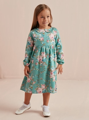 Floral - Round Collar -  - Unlined - Sea-green - Girls` Dress - Ceylan Otantik