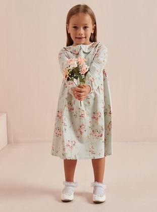 Floral - Round Collar -  - Unlined - Green - Girls` Dress