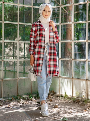 Red - Checkered - Point Collar -  - Tunic - Tofisa